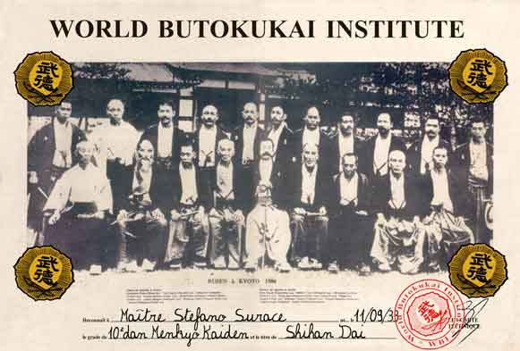 Diploma du World Butokukai Institute