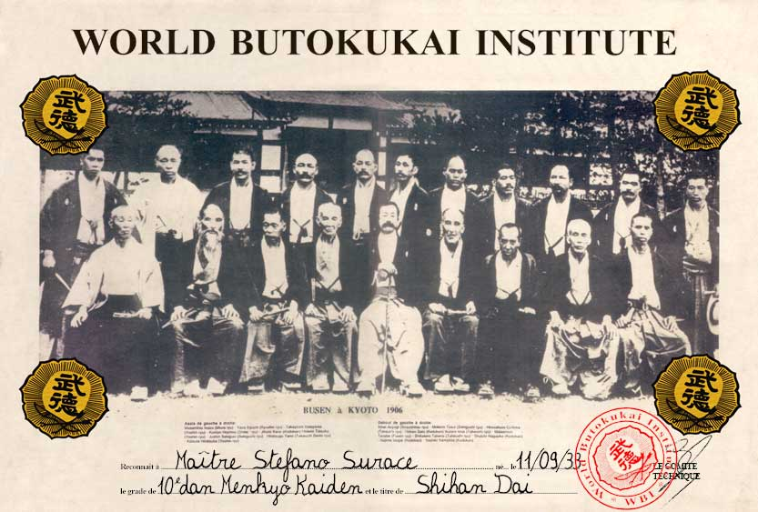 Diplôme du World Butokukai Institute
