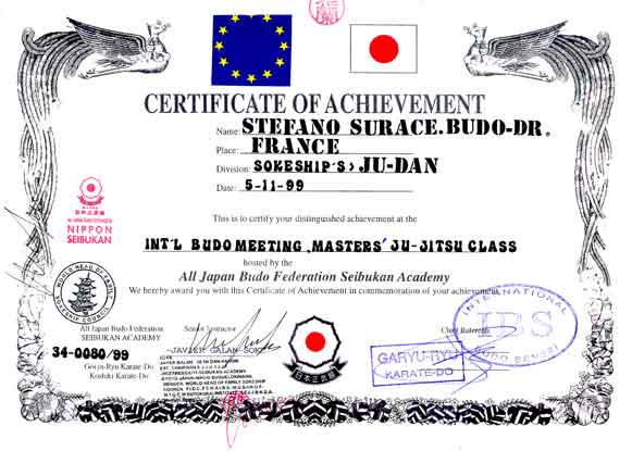Certificate Of Achievement Budo Dr